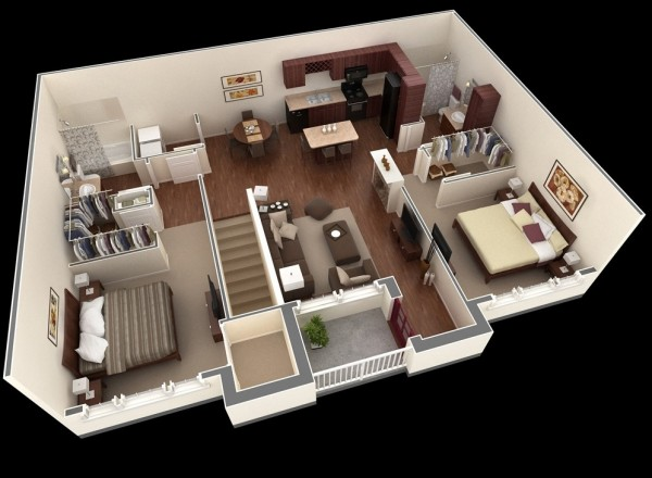 In this layout, you'll see a second floor approach to two bedroom living. Walk up the stairs to a shared common area with a small but smart kitchen, a cozy living room, and a small terrace. The bedrooms on the other hand are quite large in comparison to the other spaces and each showcases a walk-in closet and easy access to their own bathrooms.